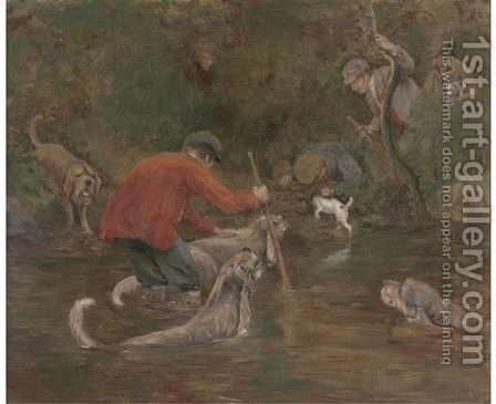 Otter hounds on the Tavy, Devon by (after) Arthur Alfred Davis - Reproduction Oil Painting