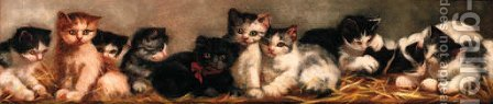 Kittens by (after) Arthur Heyer - Reproduction Oil Painting