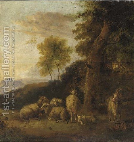 A wooded landscape with a group of sheep and goats resting by (after) Balthasar Paul Ommeganck - Reproduction Oil Painting
