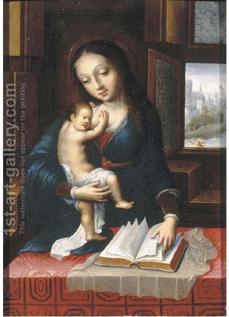 The Virgin and Child in an interior by (after) Orley, Bernard van - Reproduction Oil Painting