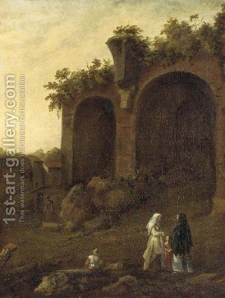Figures conversing before classical ruins by (after) Bartholomeus Breenbergh - Reproduction Oil Painting
