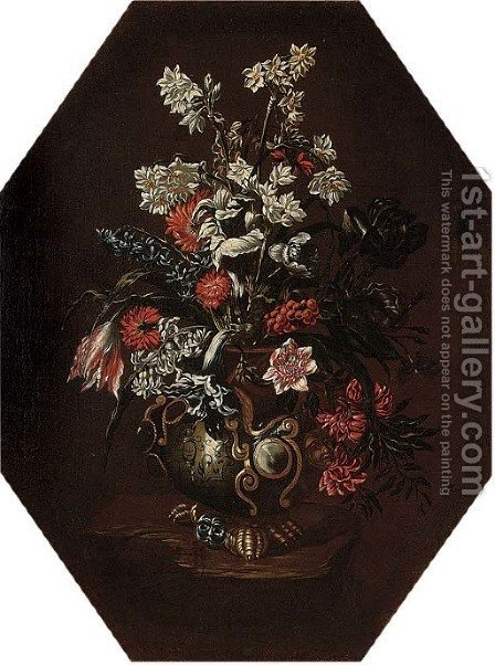 Narcissi, carnations, tulips, morning glory and other flowers in a vase on a ledge by (after) Bartolomeo Ligozzi - Reproduction Oil Painting