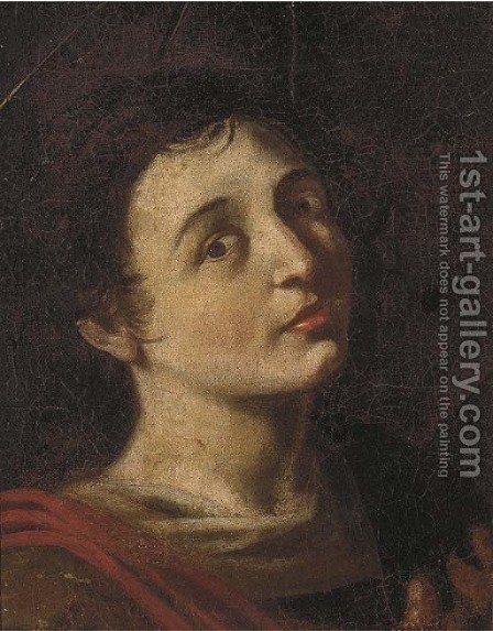 Head of a Saint by (after) Bartolomeo Manfredi - Reproduction Oil Painting
