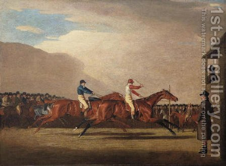 A match between Eagle and Bobtail, at Newmarket, 1804 by (after) Benjamin Marshall - Reproduction Oil Painting
