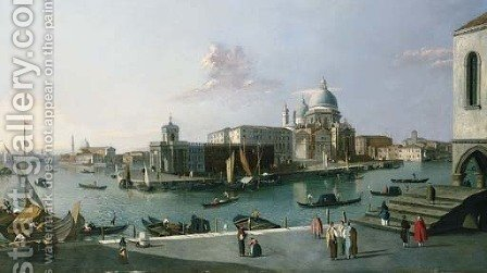 The Grand Canal looking South from the Molo with a view of Santa Maria della Salute by (after) (Giovanni Antonio Canal) Canaletto - Reproduction Oil Painting