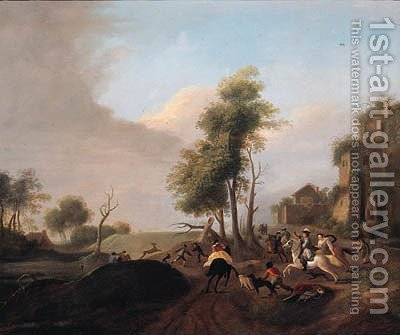 A stag hunt by (after) Carel Van Falens Or Valens - Reproduction Oil Painting
