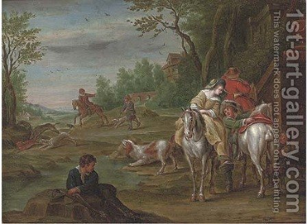 A wooded river landscape with a hunting party on a track by (after) Carel Van Falens Or Valens - Reproduction Oil Painting