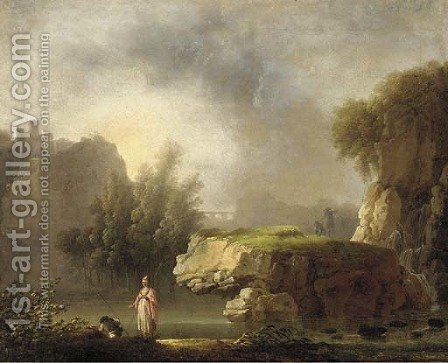 A rocky river landscape with classical figures in the foreground by (after) Carlo Bonavia - Reproduction Oil Painting