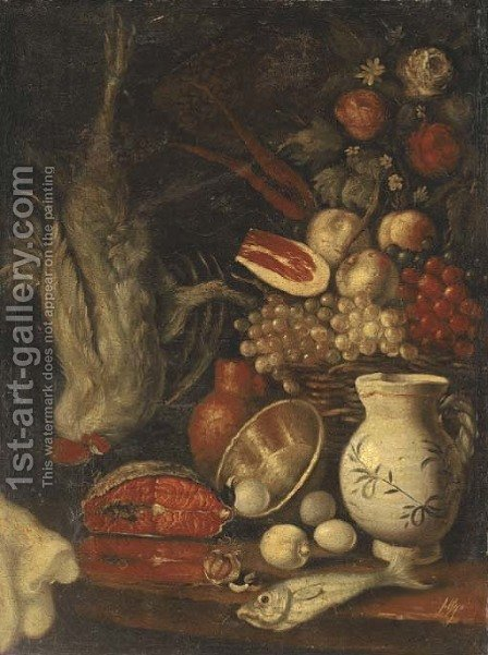 A basket of fruit by (after) Carlo Magini - Reproduction Oil Painting