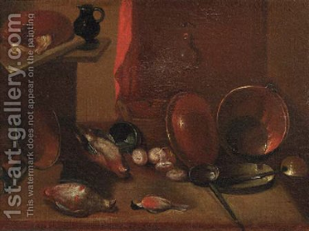 Dead songbirds, onions and kitchen utensils on a wooden table by a curtain by (after) Carlo Magini - Reproduction Oil Painting
