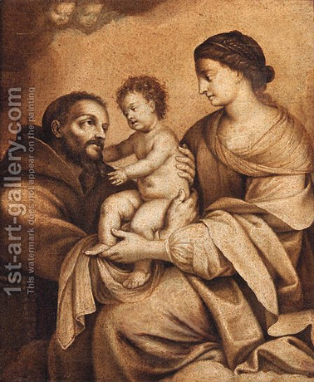 The Madonna and Child with Saint Francis - en grisaille by (after) Carlo Maratta Or Maratti - Reproduction Oil Painting