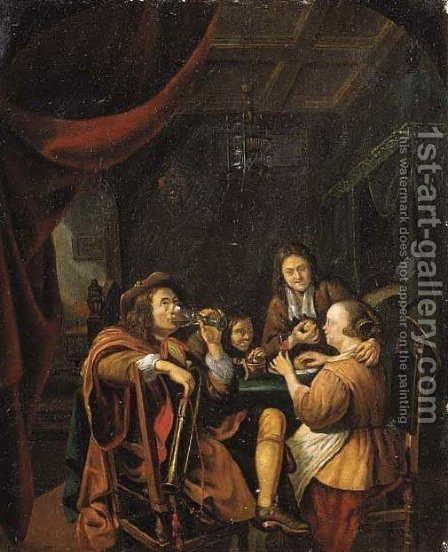 Officers drinking at table in a brothel by (after) Caspar Netscher - Reproduction Oil Painting