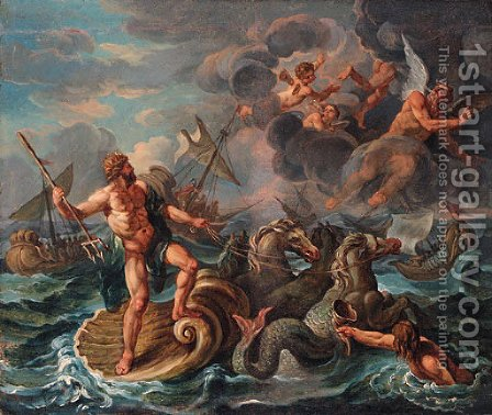 The Wrath of Neptune by (after) Charles Lebrun - Reproduction Oil Painting