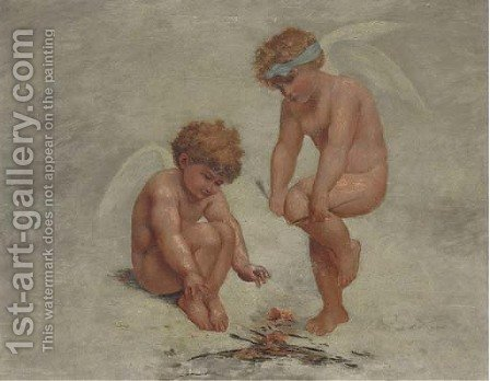Putti building a fire with broken arrows by (after) Charles Augustus Henry Lutyens - Reproduction Oil Painting