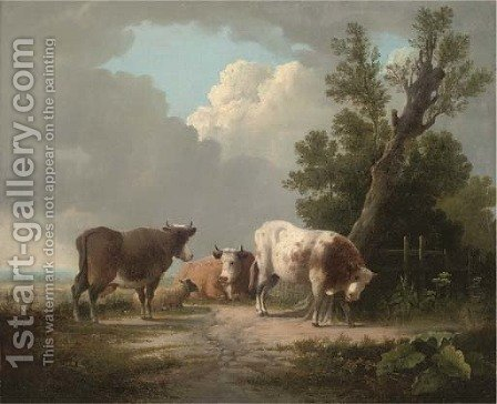 Cattle and a sheep in an extensive landscape by (after) Charles Towne - Reproduction Oil Painting