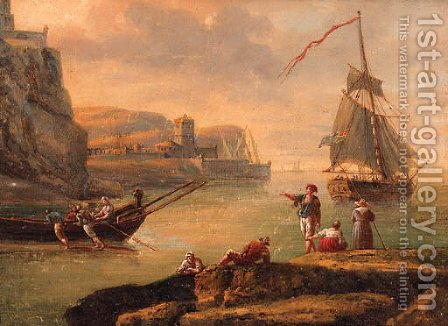 A Mediterranean coastline with fisherfolk on the shore and a yacht setting sail beyond by (after) Charles Francois Lacroix De Marseille - Reproduction Oil Painting