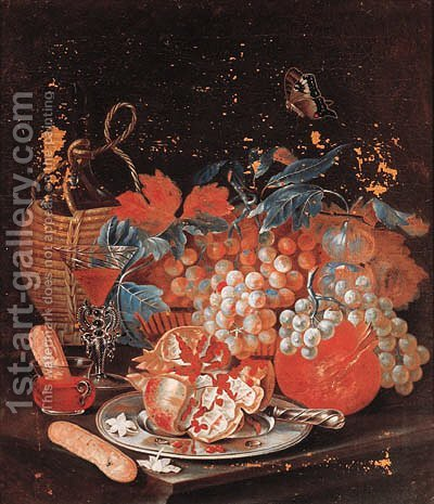 A basket of fruit with a carafe by (after) Christian Berentz - Reproduction Oil Painting