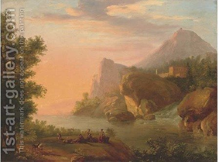 A Rhenish river landscape with shepherds playing music near a waterfall by (after) Christian Georg II Schutz Or Schuz - Reproduction Oil Painting