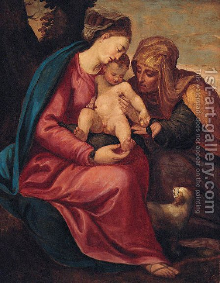 The Virgin and Child with Saint Elizabeth by (after) Christofano Allori - Reproduction Oil Painting