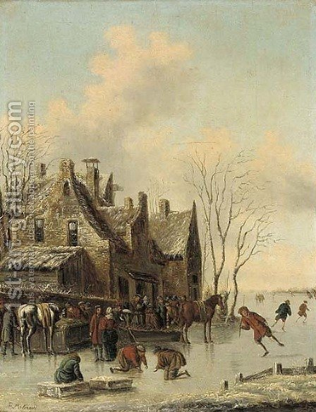A frozen river by a town with skaters and townsfolk by (after) Claes Molenaar (see Molenaer) - Reproduction Oil Painting