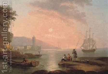 A capriccio of a Mediterranean harbour at dusk by (after) Claude-Joseph Vernet - Reproduction Oil Painting