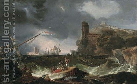 A coastal scene with a shipwreck off a rocky shore in strong winds by (after) Claude-Joseph Vernet - Reproduction Oil Painting