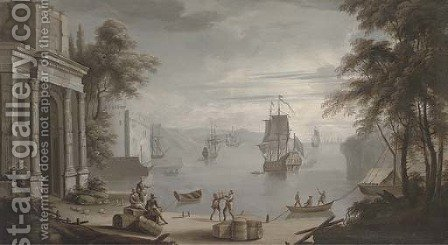A Mediterranean coastal harbour, a man'-o-war and other shipping with figures on the shore by classical buildings by (after) Claude-Joseph Vernet - Reproduction Oil Painting