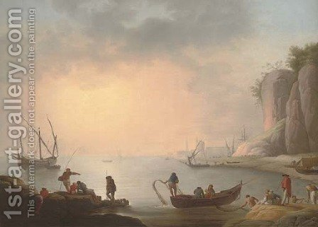 A Mediterranean coastal inlet with fishermen by the shore, a port beyond by (after) Claude-Joseph Vernet - Reproduction Oil Painting