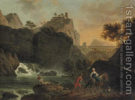 A mountainous river landscape with travellers on a track, a town on a hill and a roman acquaduct beyond by (after) Claude-Joseph Vernet - Reproduction Oil Painting