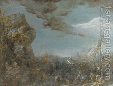 Fishermen unloading a shipwrecked three-master, shipping in stormy seas beyond by (after) Claude-Joseph Vernet - Reproduction Oil Painting