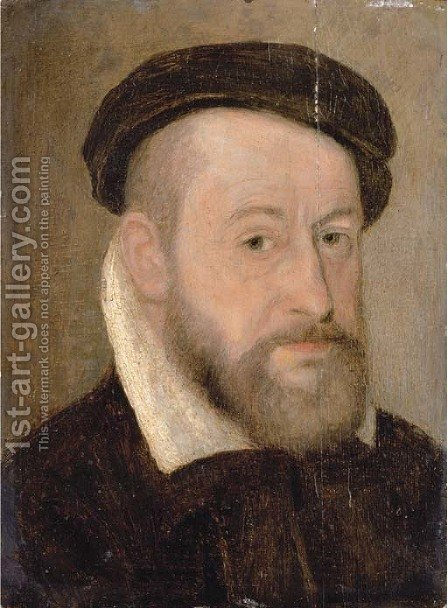 Portrait of a gentleman 3 by (after) Corneille De Lyon - Reproduction Oil Painting