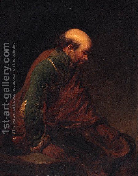 An old man leaning against a table by (after) Cornelis (Pietersz.) Bega - Reproduction Oil Painting