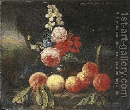 Peaches and grapes with roses and other flowers in a glass vase on a stone ledge in a landscape by (after) Cornelis De Heem - Reproduction Oil Painting