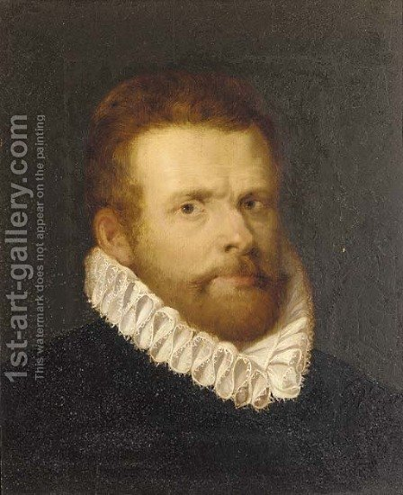 Portrait of a gentleman, bust-length, in a black doublet and a ruff by (after) Cornelis De Vos - Reproduction Oil Painting
