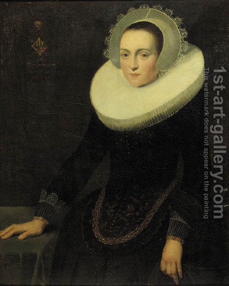 Portrait of a lady, aged 24 by (after) Cornelis De Vos - Reproduction Oil Painting
