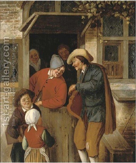 A peddlar at a doorway by (after) Cornelis Dusart - Reproduction Oil Painting