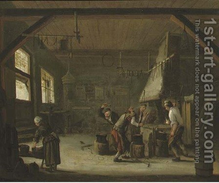 Blacksmiths in their workshop by (after) Cornelis (Pietersz.) Bega - Reproduction Oil Painting