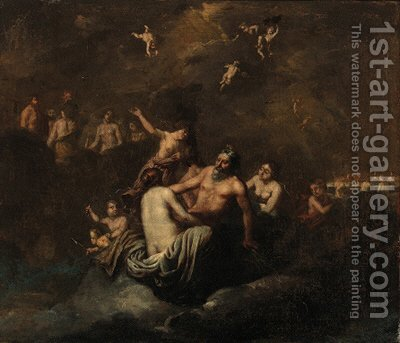 Jupiter with Diana by (after) Cornelis Van Poelenburch - Reproduction Oil Painting