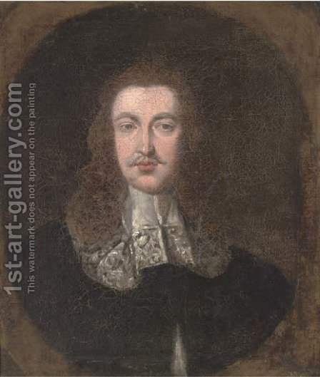 Portrait of a gentleman, bust-length, in a black coat and white collar, in a feigned oval by (after) Johnson, Cornelius I - Reproduction Oil Painting
