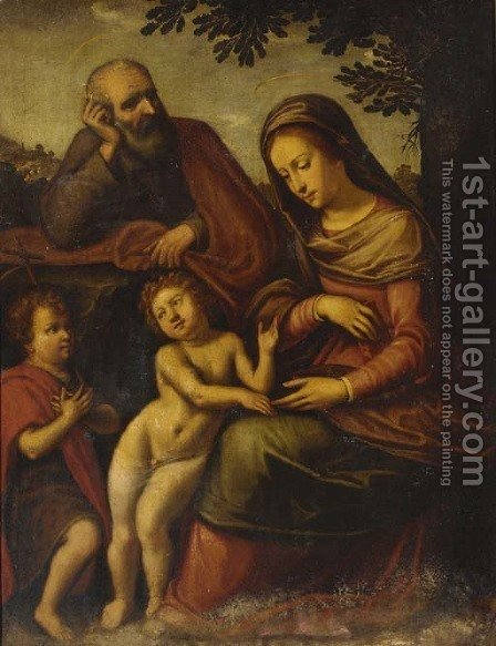 The Holy Family with the Infant Saint John the Baptist by (after) Cristofano Allori - Reproduction Oil Painting