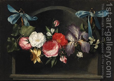 A Garland of Flowers hanging before a Niche by (after) Daniel Seghers - Reproduction Oil Painting