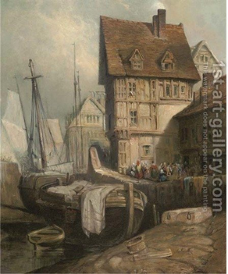 Figures in a continental harbour by (after) David Roberts - Reproduction Oil Painting