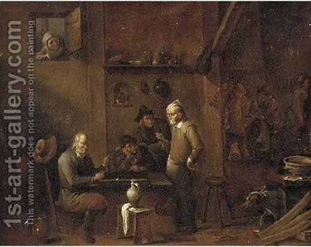 Boors smoking and gaming in an inn by (after) David The Younger Ryckaert - Reproduction Oil Painting