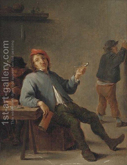 A boor smoking in an interior by (after) David The Younger Teniers - Reproduction Oil Painting