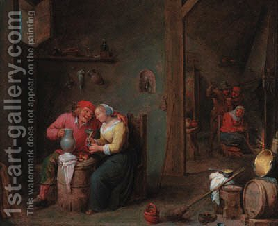 A courting couple in an inn by (after) David The Younger Teniers - Reproduction Oil Painting