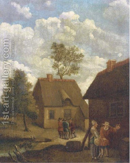 A farmyard with figures conversing by (after) David The Younger Teniers - Reproduction Oil Painting