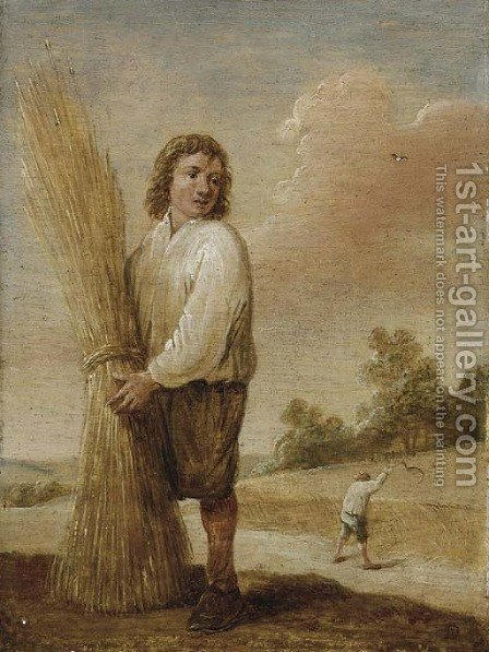 A harvester in a landscape by (after) David The Younger Teniers - Reproduction Oil Painting