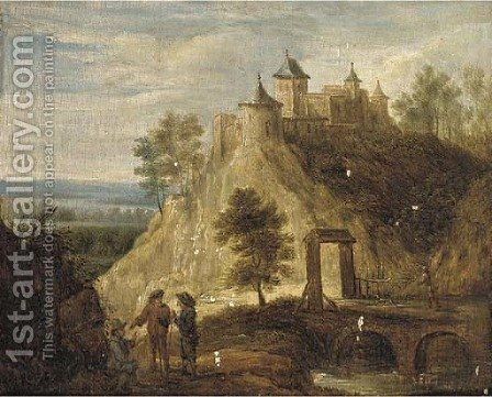 A hilly landscape with peasants on a path by a river, a castle beyond by (after) David The Younger Teniers - Reproduction Oil Painting