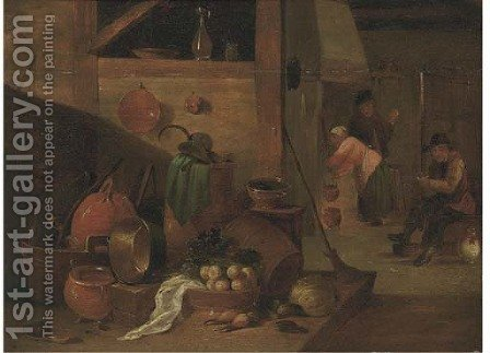 A kitchen interior with peasants by (after) David The Younger Teniers - Reproduction Oil Painting