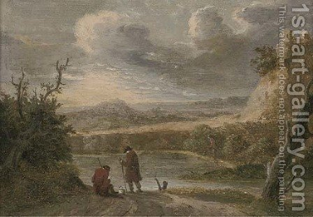 A river landscape with travellers resting on a trac by (after) David The Younger Teniers - Reproduction Oil Painting